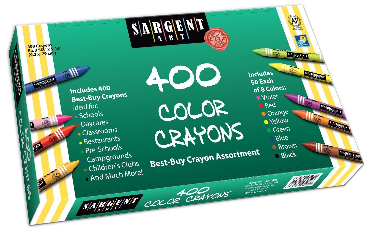 3 x Sargent Art 55-3220 Best-Buy Assortment Crayon 3-5/8-Inch 400-Count