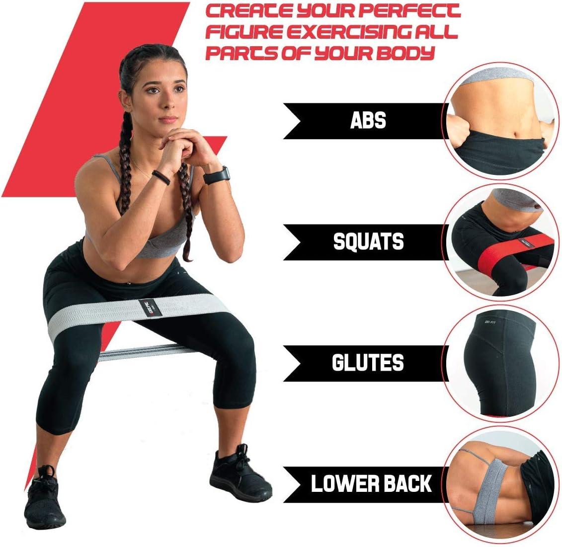 2GetFit Bandas Elásticas Musculación (Set de3): Banda Tela Glúteos, Goma de Resistencia Fitness, Cintas/Bandas Elásticas/Resistencia, Gimnasio/Gym/TRX