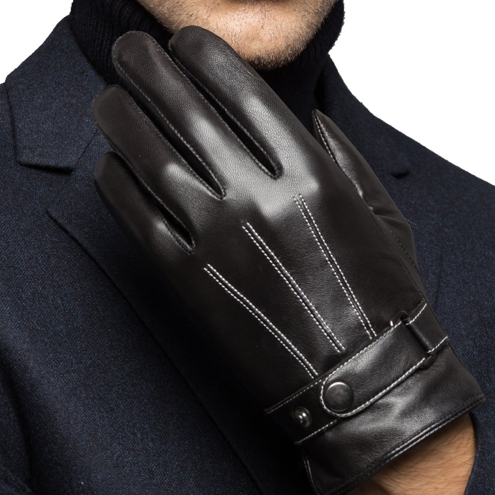 Harrms Best Luxury Touchscreen Italian Nappa Leather Gloves for men's Texting Driving (L-8.9''(US Standard Size), BLACK)