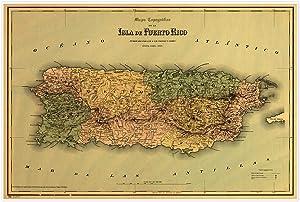 Antiguos Maps - Mapa topografico de la isla de Puerto Rico circa 1886 - measures 24 in x 36 in (610 mm x 915 mm)