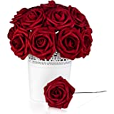 Roses Artificial Flowers Fake Flowers Wedding Decorations Set 50pcs Artificial Flora DIY Wedding Home Office Party Hotel Restaurant Patio Yard Decoration (Red Wine)