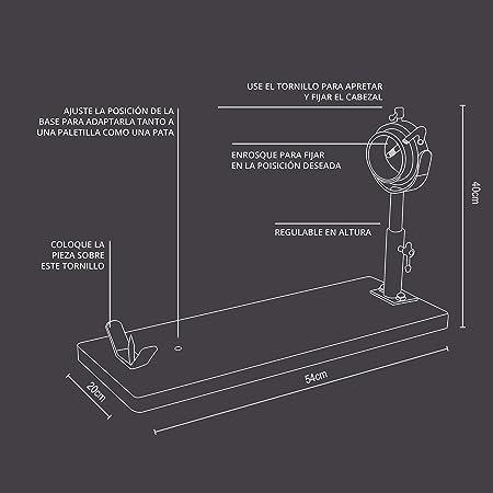 TM Electron HOCU102 Jamonero de Madera de Acacia con Cabezal Adaptable telescópico metálico, Sistema Giratorio y Base Ajustable para Pata o paletilla