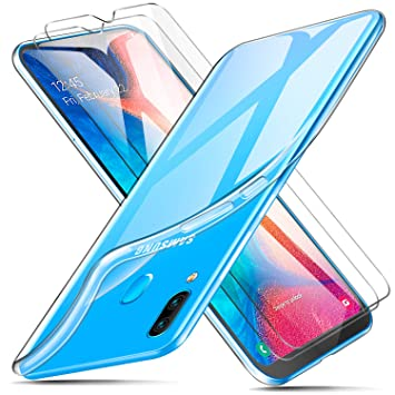 ivencase Funda + 2 X Protector de Pantalla para Samsung Galaxy A20, Transparente TPU Silicona Carcasa, Anti-Choques/Arañazos Flexible Case Cover para ...