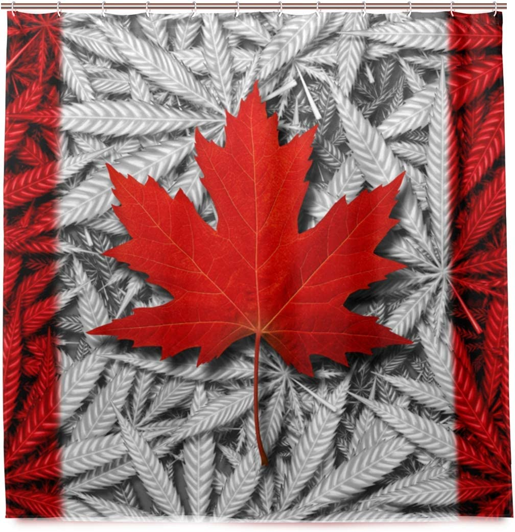 N/ A Cortina de ducha lavable impermeable – Canadá máquina de marihuana cortinas para ducha con ganchos 72 x 72 pulgadas