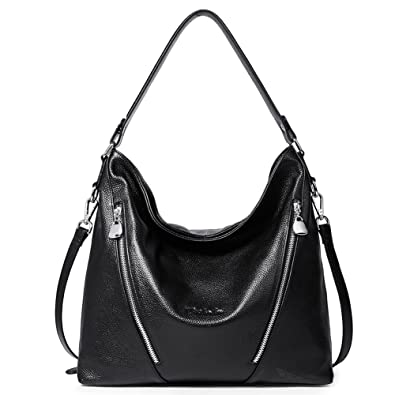 Amazon.com  BOSTANTEN Women Leather Handbag Designer Large Hobo Purses  Shoulder Bags Black  Shoes a46e7fc17bb46