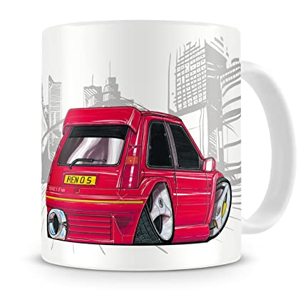 KOOLART kruzroyal caricatura de Renault 5 GT Turbo color rojo - Taza de café