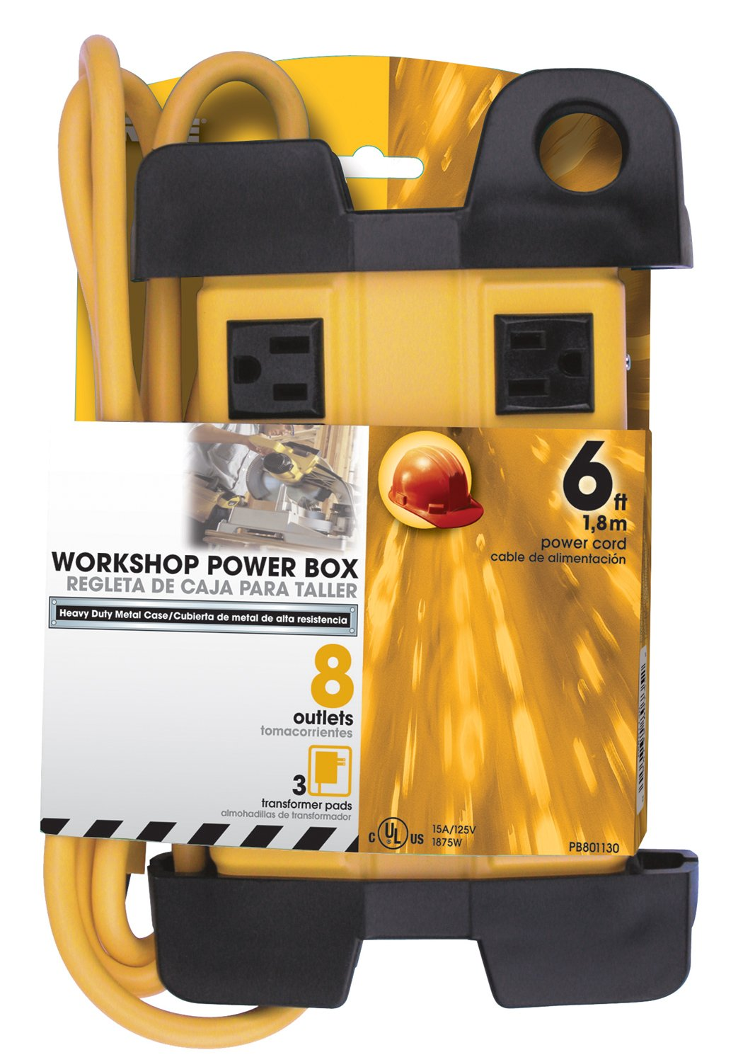 Prime Wire & Cable PB801130 8-Outlet 5+3 Metal Shop Box with 6-Foot Cord and Cord Wrap, Yellow Inc.