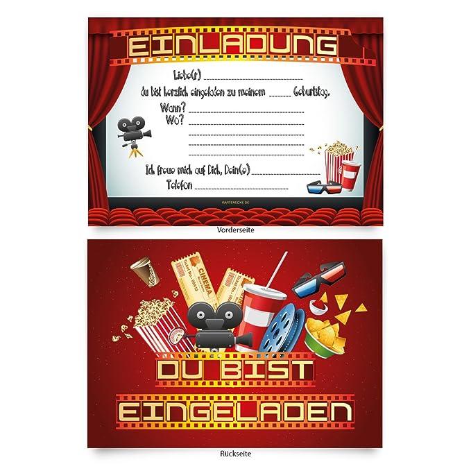 superior einladungskarten kino #1: Einladungskarten (8 Stück) zum Selbstausfüllen für Kindergeburtstag - u201eKino  Filmu201c: Amazon.de: Spielzeug
