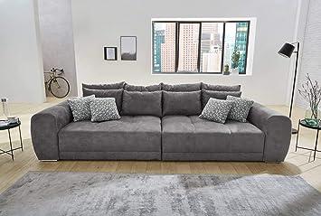 Lifestyle4living Big Sofa Grau Microfaser Xxl Sofa Mit Extra