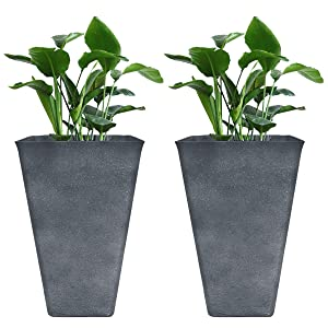 "Tall Planters 26"" Large Flower Pots Pack 2, Indoor and Outdoor Patio Deck Resin Rectangular Planters, Gray"
