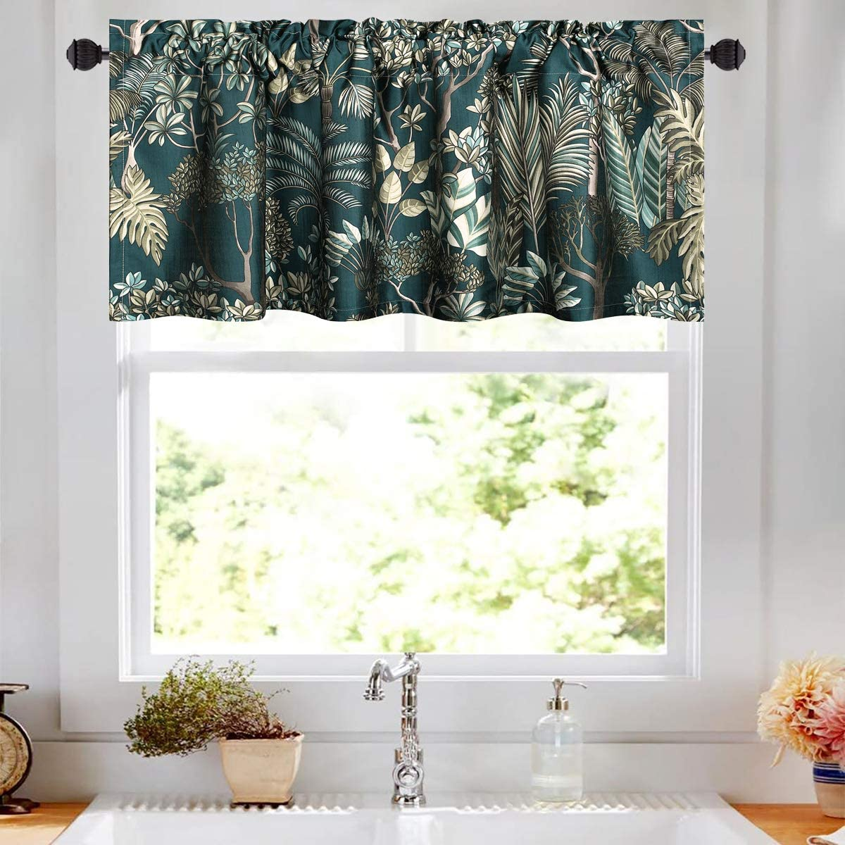 VOGOL Window Curtains Valances Forest Tree Printed Pattern Valance for Kids Room, Modern Top Pocket Small Curtain for Dining Room Door Porch, One Panel, 52×18 Inch, Blue