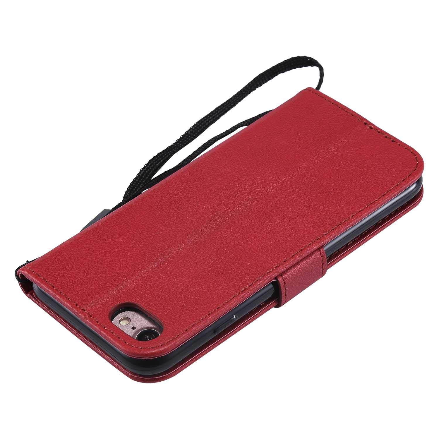iPhone 7/8 Case, The Grafu Shockproof Leather Wallet Flip Case with [Card Slots] [Wrist Strap] Stand Function Cover for Apple iPhone 7 / iPhone 8, Red by The Grafu (Image #4)