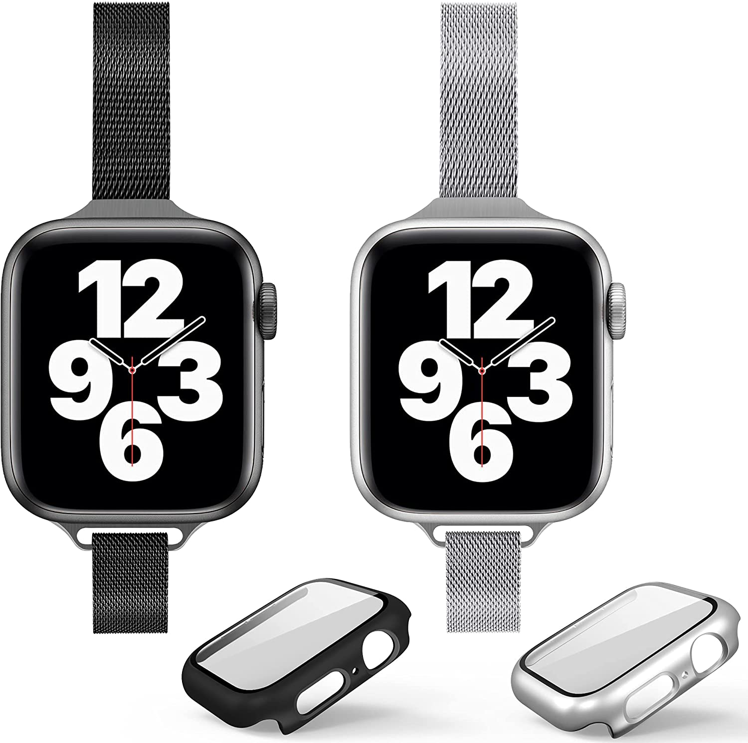 2 Pack Compatible for Apple Watch Bands 44mm 42mm 40mm 38mm + Case,Magnetic Stainless Steel Mesh Loop Band with Cases Built in Tempered Glass Screen Protector for iWatch Series SE/6/5/4/3/2/1