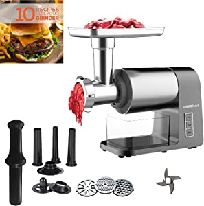 GoWISE USA Electric Meat 2000-Watt Max Grinder with DC Motor, Large, Silver