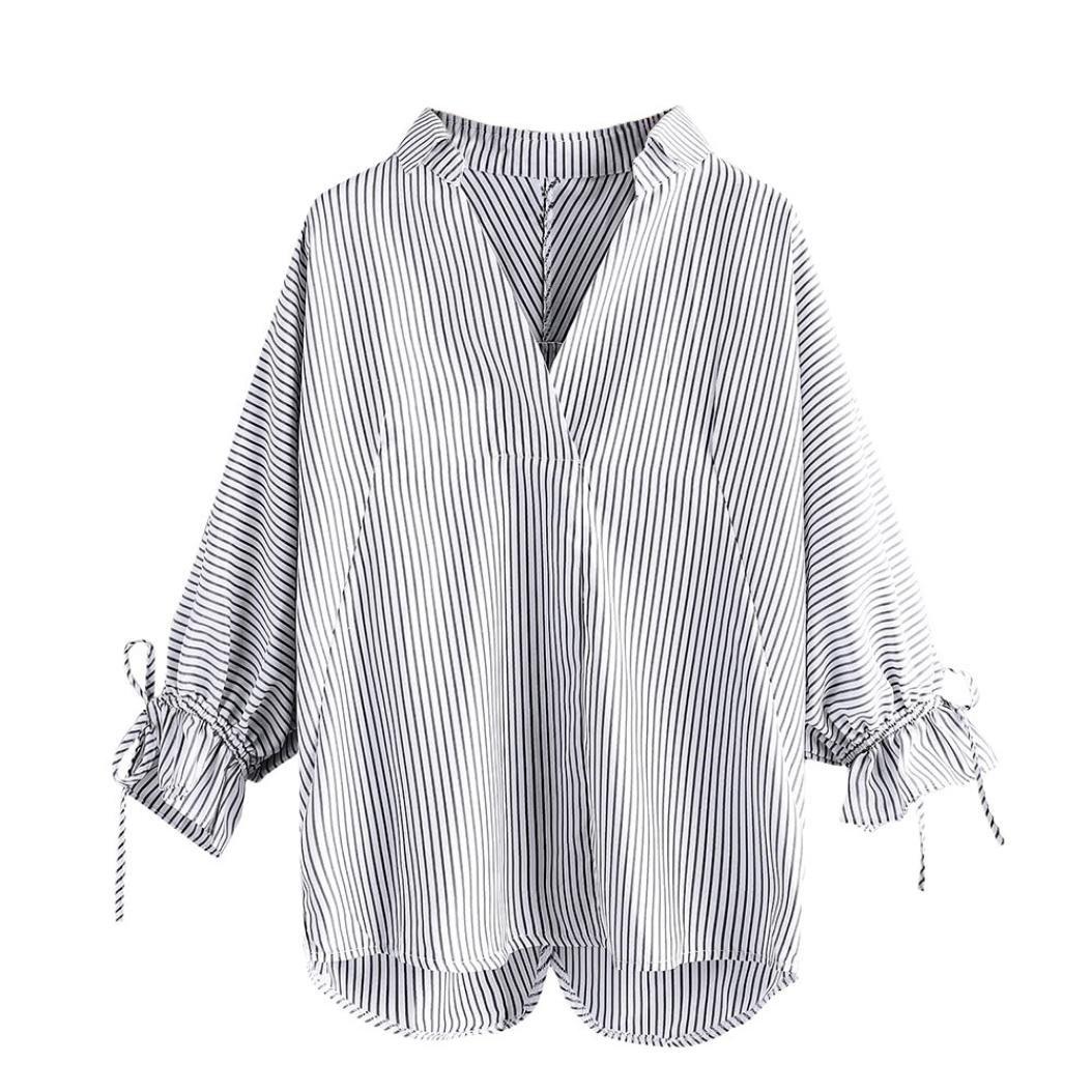 Camisa A Rayas De Las Mujeres, LILICAT Blusas Otoño Manga 3/4 Cuello en V Anchas