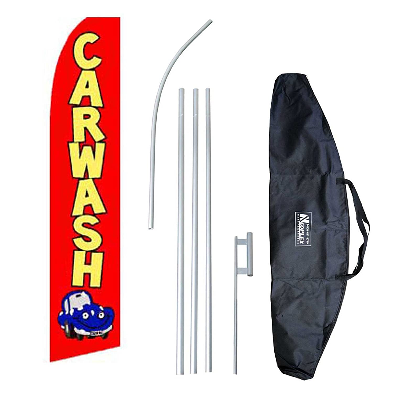 """Car Wash"" 12-foot Swooper Feather Flag and Case Complete Set...includes 12-foot Flag, 15-foot Pole, Ground Spike, and Carrying/Storage Case"