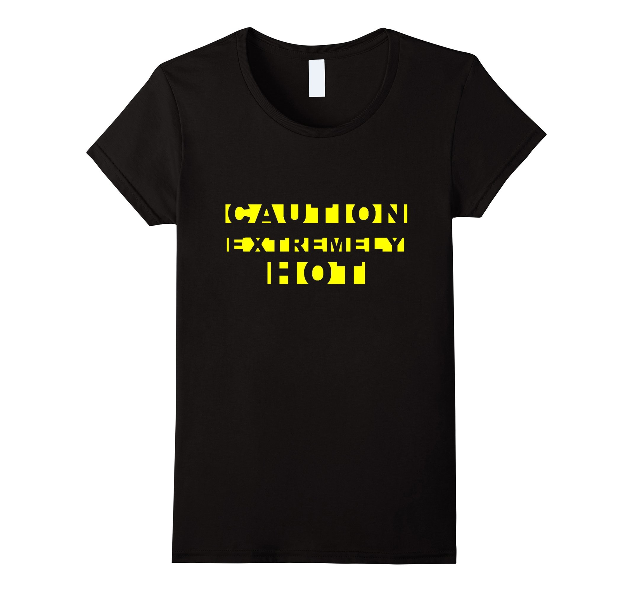 Womens CAUTION EXTREMELY HOT Funny Crime Scene Tape Yellow Text Tee XL Black by [MRKprints]