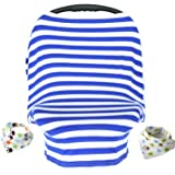 YIHANG Nursing Breastfeeding Cover Scarf - Baby Car Seat Canopy, Shopping Cart, Stroller, Carseat Covers for Girls and Boys - Best Multi-Use Infinity Stretchy Shawl (Blue/White Stripe)