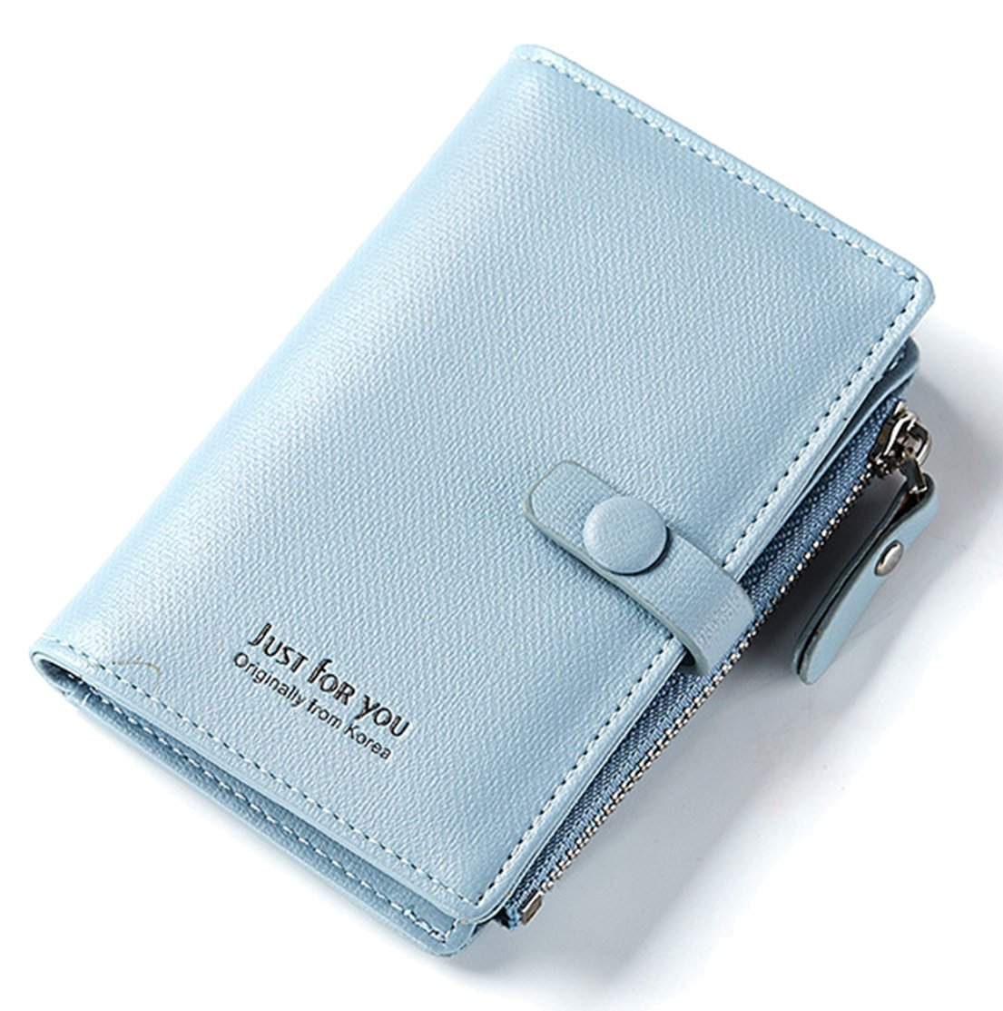 FEMAROLY Women's Holding Wallet Key Package Buckle Multi-Function Short Keychain Multi-Card Holder Purse for Women Blue