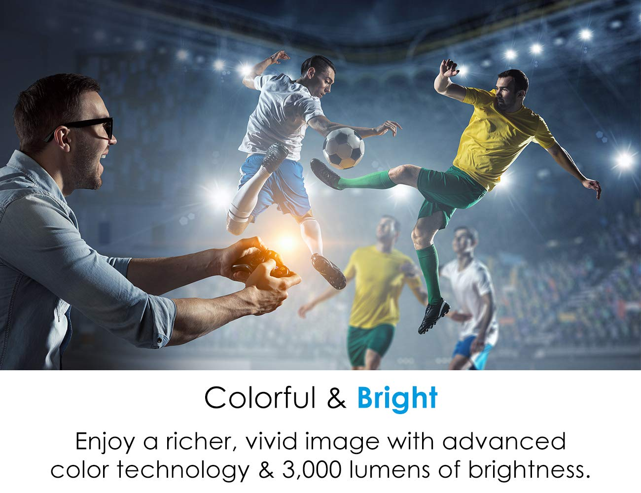 Super Bright 3300 Lumens Easy Setup with Zoom and Keystone Adjustment Long 12000h Lamp Life Optoma HD243X 1080p Projector for Movies and Gaming 3D Support