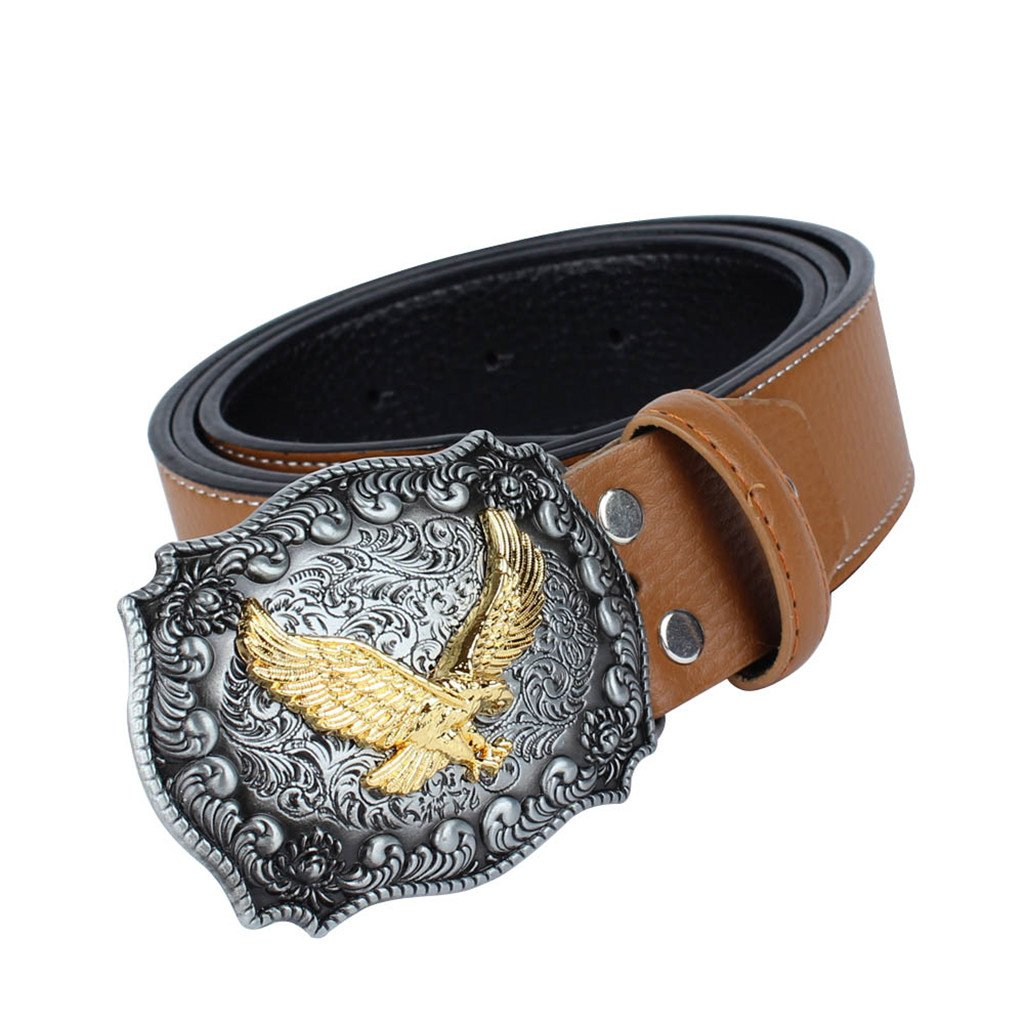 MonkeyJack Western Eagle Carved Leather Strap Eagle Metal Buckle Men Belt Gift