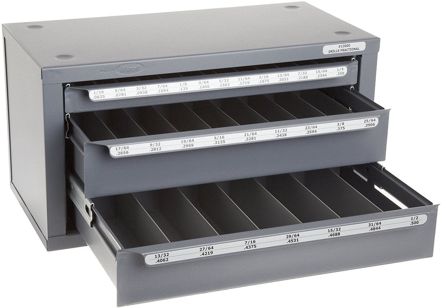 Huot 13000 Three-Drawer Drill Bit Dispenser Cabinet for Jobber Length Fractional Sizes 1/16'' to 1/2'' in 1/64'' Increments by Huot Manufacturing