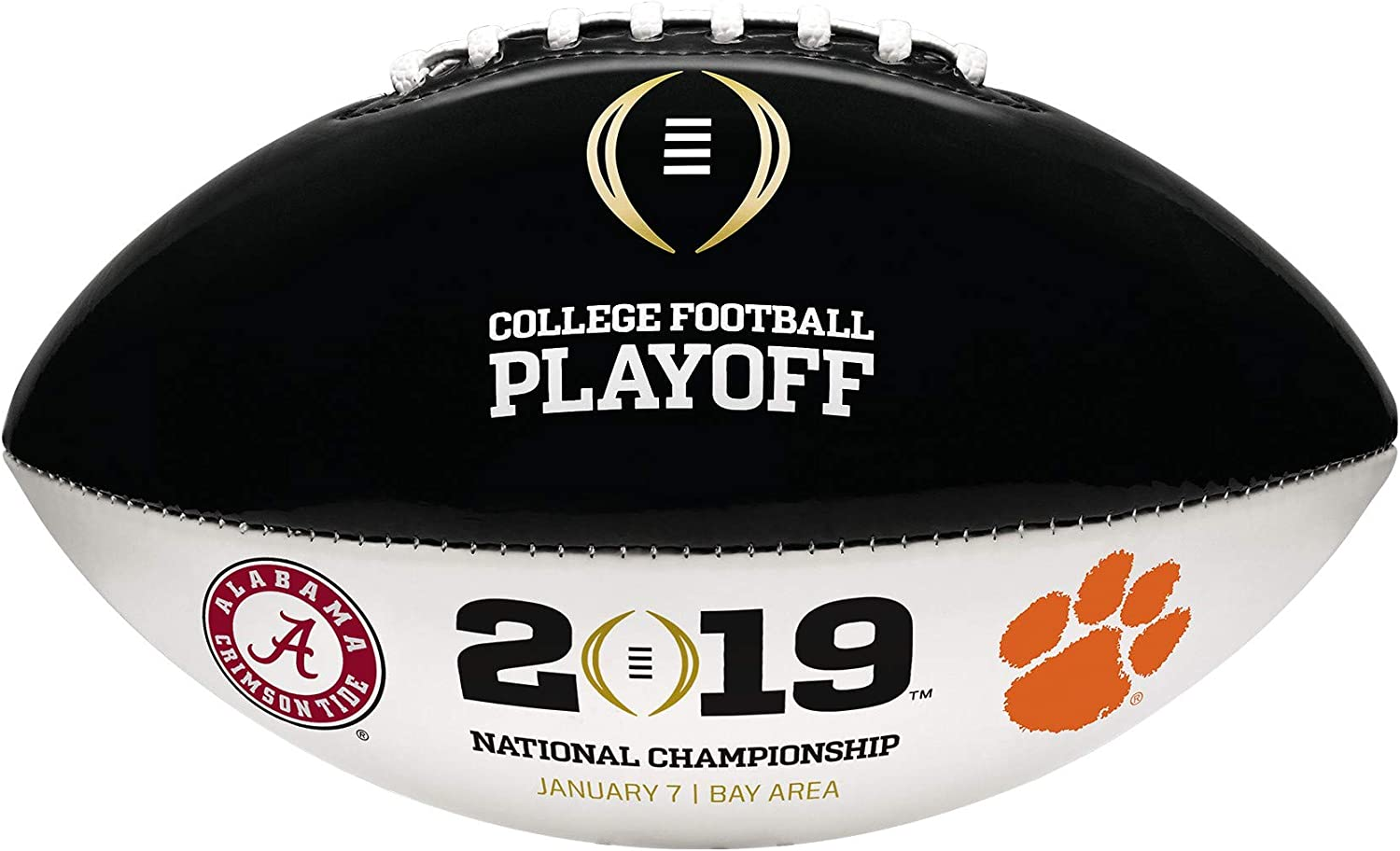 Boxed 2019 NCAA CFP OFFICIAL FULL SIZE SIGNATURE DUELING FOOTBALL with CLEMSON /& ALABAMA LOGOS