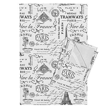 Amazon Com Roostery Black Tea Towels Black Vintage Paris