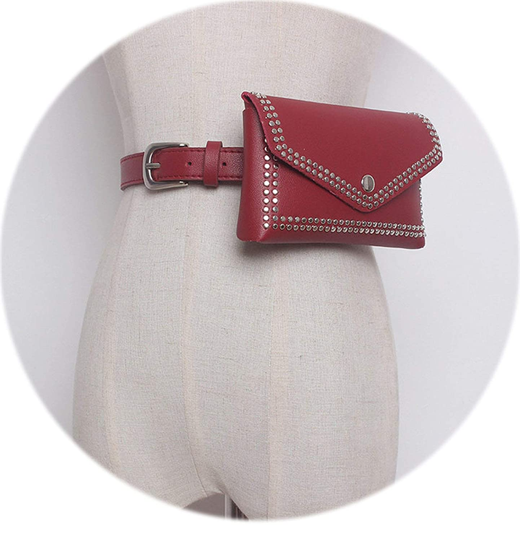 Women Rivet Waist Belt Pack Casual Waist Bag PU Leather Women Bags Travel Belt Wallets Fanny Bags Ladies Fit iphone8//+