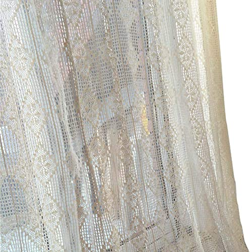 Fine Lady Crochet Curtains, French Crochet Window Panels, Pair Cotton Crochet Curtains 59 inch by 86 inch Cream