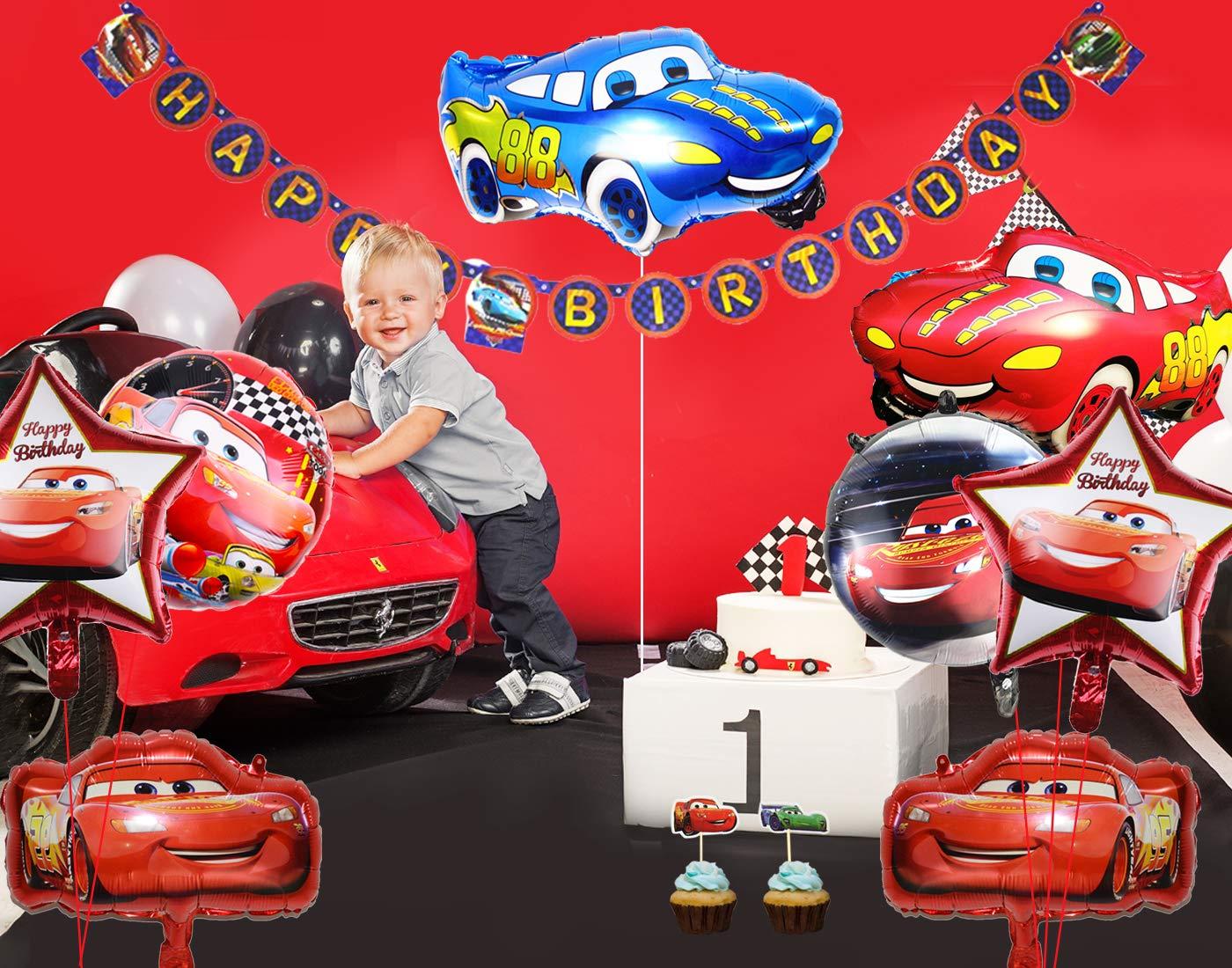 Kreatwow Fiesta de cumpleaños para Auto Suministros para niños con Tema de vehículo Feliz CUMPLEAÑOS Banner, Globos de Aluminio para Auto, 1ª Fiesta ...