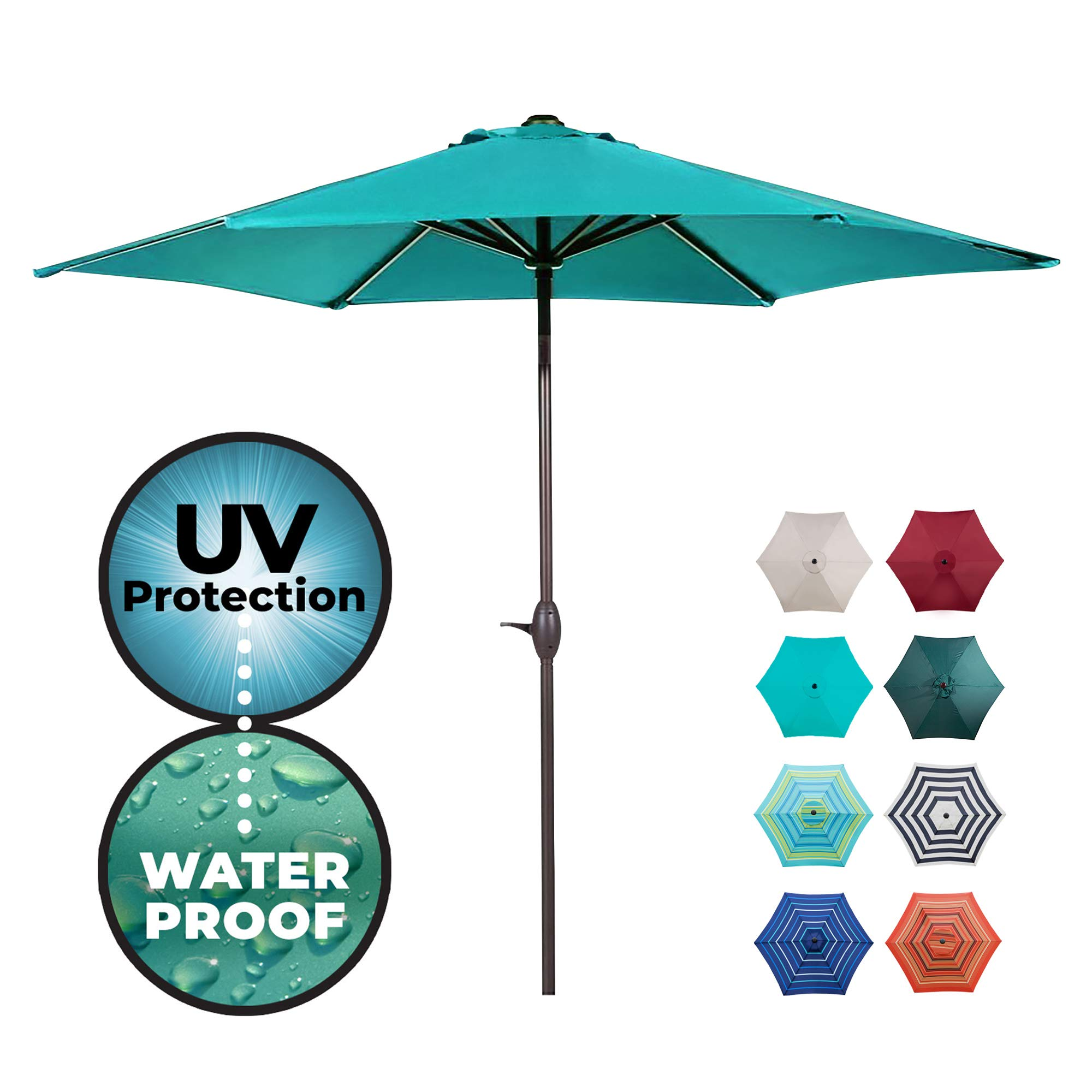 Abba Patio Outdoor Patio 9-Feet Aluminum Market Table Umbrella with Push Button Tilt and Crank, 9', Turquoise product image