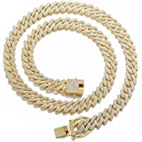 Mens Miami Cuban Link Chain Necklace 12mm Diamond Prong Cuban Chain 18/20/24inch Length Hip Hop Jewely with Gift Box