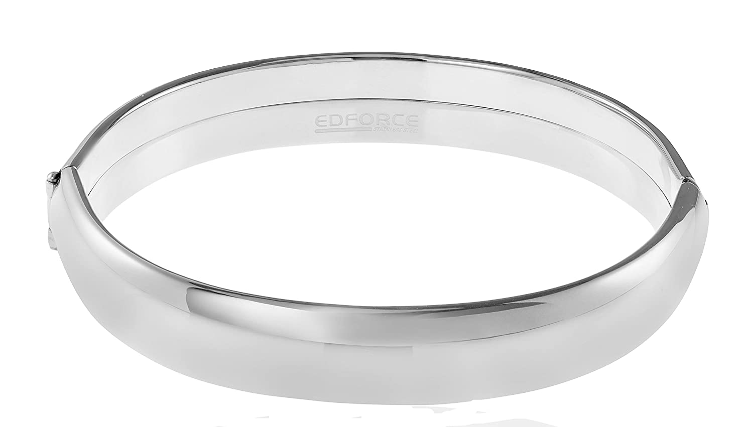 62d22874a05 Edforce Stainless Steel Women's Stackable Bangle Bracelet Wide Round Oval  Hinged Slip-On, 68mm x 60mm (2.6in x 2.3in)
