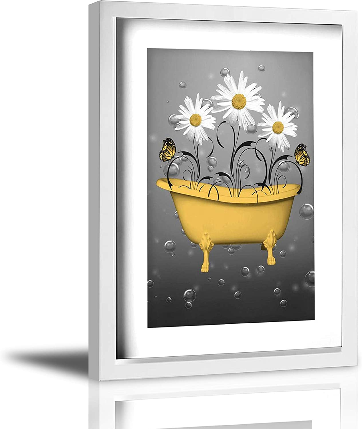 Coolertaste Yellow Daisy Flowers Butterflies Bubbles Bathtub Rustic Canvas Wall Art Prints Framed Picture Wall Decor Vintage Bathroom Decor Ready To Hang 9
