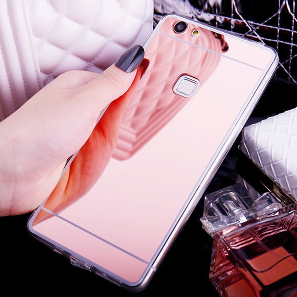 Uposao Spiegelhülle - Mirror Case für Huawei P10 Lite, Hülle Silikon Transparent Durchsichtig Handy Hülle für Huawei P10 Lite, Überzug Mirror Spiegel Spiegelnd Make Up Silikon Kristallklar Handyhülle Plating TPU Silikon Rückseite Kratzfest Schutzhülle Ultr