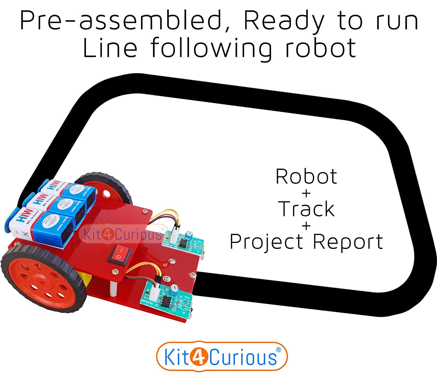 Kit4curious Tech Line Following Robot Complete Kit Ir Sensor Based How To Make 8051 Micro Controller Follower With Instruction Industrial Scientific