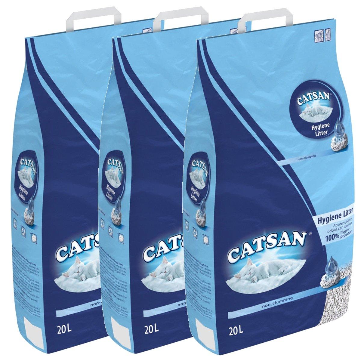 Catsan Litière pour chat 60 litres (3 x 20 litres) mars