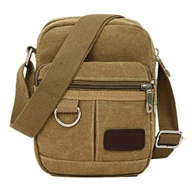 680bf793809 Men s Shoulder Bag Men Canvas Mini Crossbody Bag Travel Casual Outdoor Shoulder  Bag(Khaki)  Amazon.in  Shoes   Handbags