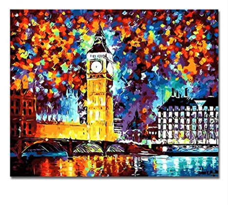 Londres Reloj Cuadros Pintura Por Números Pared Pintada A Mano de DIY Gran Torre del Reloj
