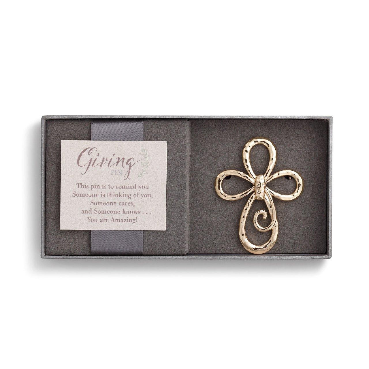 Demdaco Loop Cross Goldtone Hammered One Size Women's Metal Giving Pin in Gift Box