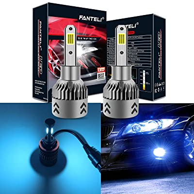 FANTELI H3 8000K Ice Blue LED Headlight Bulbs All-in-One Conversion Kit - 72W 8000LM Fog Driving Lights Foglights Extremely Bright: Automotive
