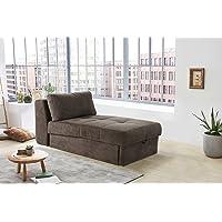 lifestyle4living Recamiere in braunem Microfaser, Sofa mit Gästebettfunktion und Bettkasten, Pflegeleichte Schlafcouch inkl. Rückenkissen.