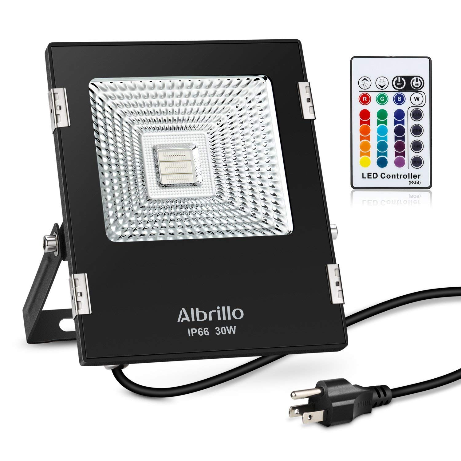Albrillo 30W RGB Flood Lights Waterproof LED Floodlight with Remote Control and US Plug, 16 Colors and 4 Modes Adjustable Wall Lights