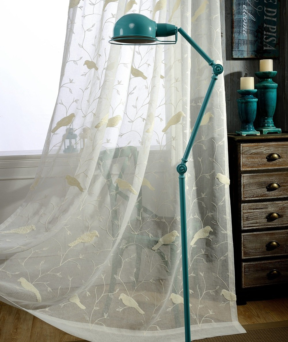 ZWB Rod Pocket ProcesLovely Bird Embroidered Half Shading Small Fresh Tulle Valances Window Curtain Treatments Sheer Curtains Voile