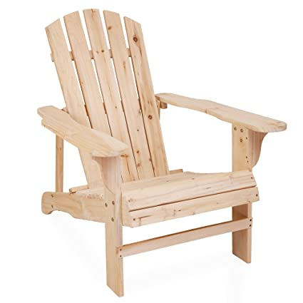 Superb Songsen Outdoor Log Wood Adirondack Lounge Chair Patio Deck Garden Furniture    Natural