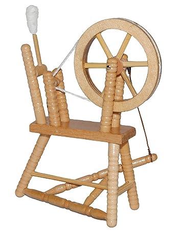 Miniatur Spinnrad   Aus Hellem Natur Holz   Lackiert   Für Puppenstube  Maßstab 1:12