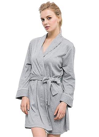 WGE Batas De Baño para Mujer Ropa De Dormir De Punto Suave Kimono Cuello Ropa De ...