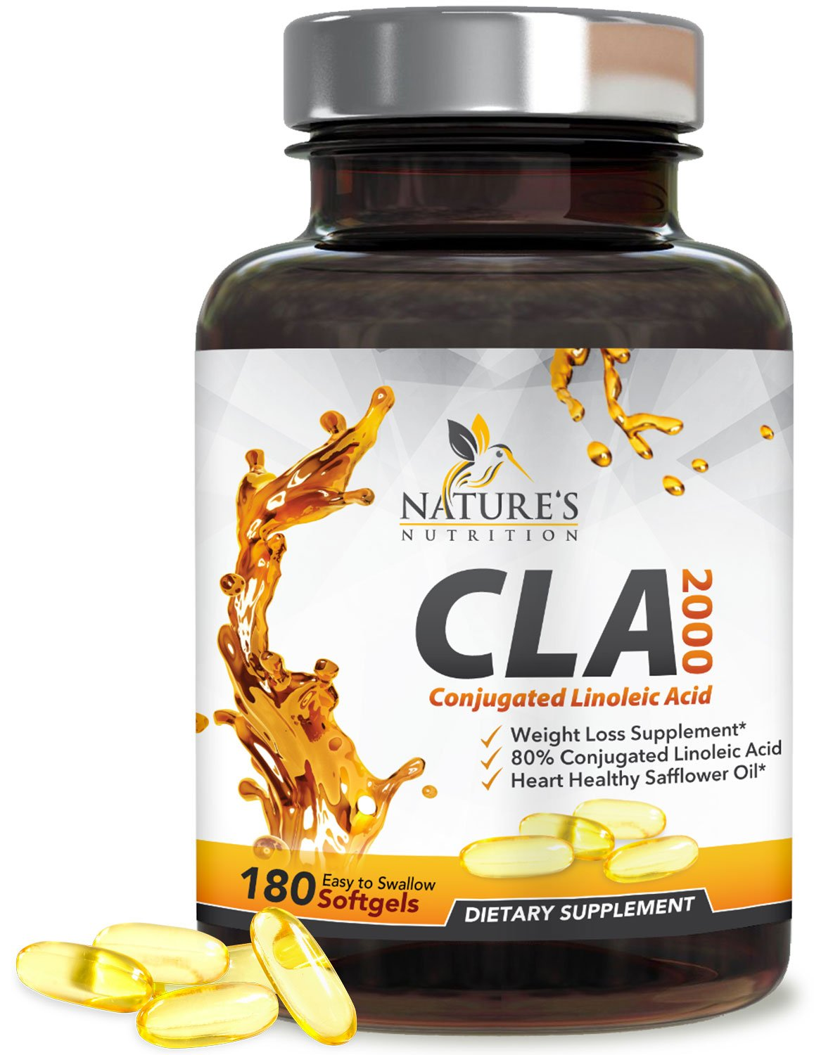 Max Potency CLA Supplements Natural Weight Loss 2000mg - Safflower Oil Conjugated Linoleic Acid Pills, Stimulant Free Belly Fat Burner & Lean Muscle Builder for Men & Women, Non-GMO - 180 Softgels