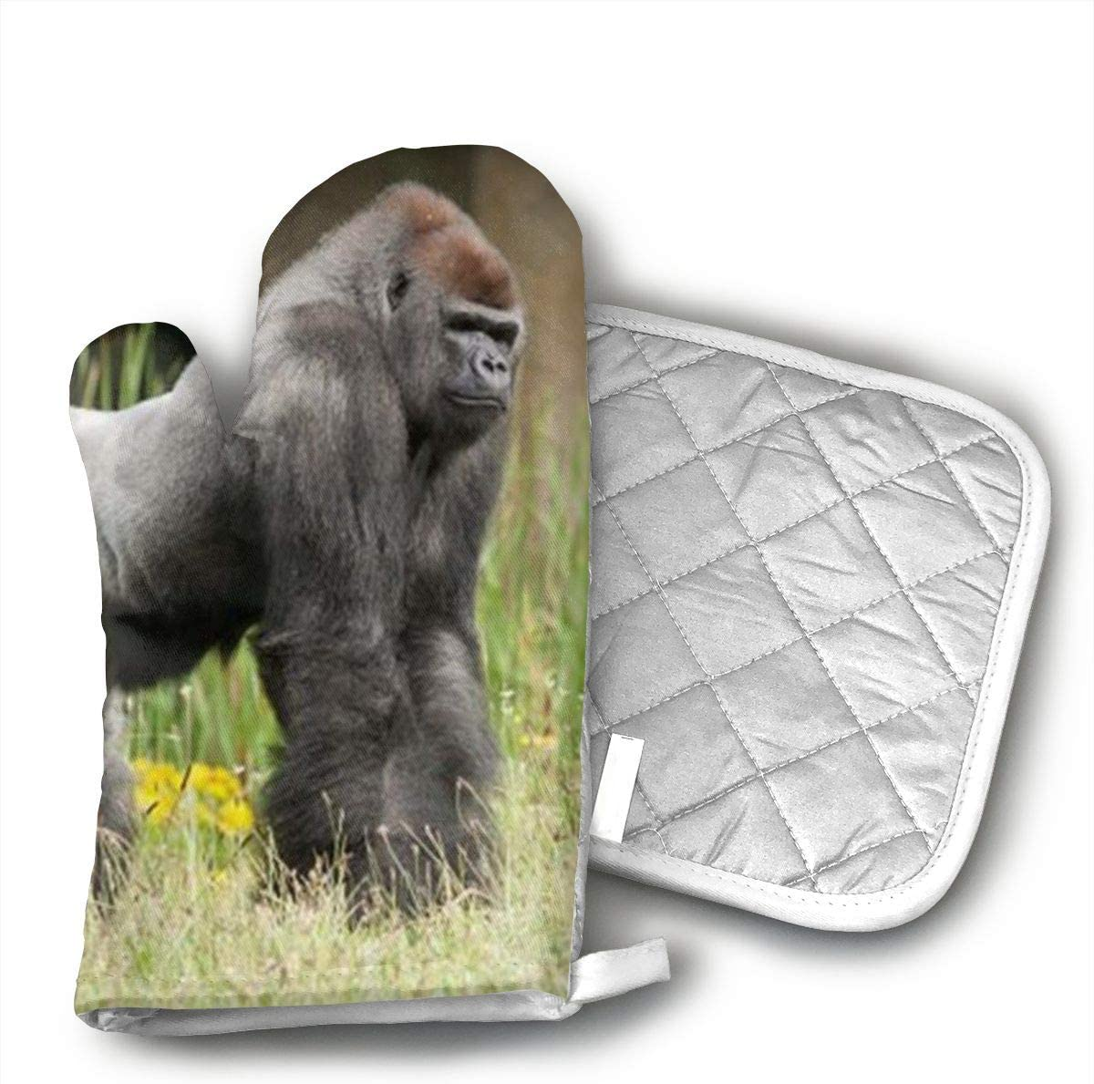 HiHMJ Gorilla in The Green Grass Art Print Oven Mitts, with The Heat Resistance of Silicone and Flexibility of Cotton, Recycled Cotton Infill, Terrycloth Lining,